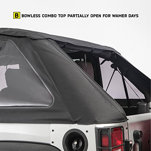 Smittybilt-9083235K-black-Bowless-Combo-Top-Kit-WTinted-Windows-Black-Diamond-Jeep-07-17-Wrangler-Jk-4-Door-1-Pack-0-1