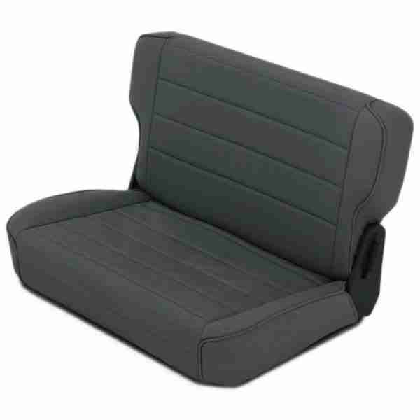 Smittybilt Fold & Tumble Rear Seat for 1976-2006 Jeep CJ5 / CJ7 / CJ8 / Wrangler TJ / YJ - Black Denim